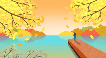 Beautiful autumn landscape colorful nature scenery vector illustration 004 版權商用圖片