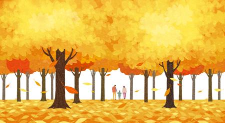 Beautiful autumn landscape colorful nature scenery vector illustration 009