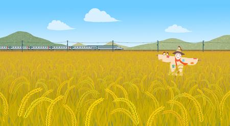 Beautiful autumn landscape colorful nature scenery vector illustration 003 版權商用圖片