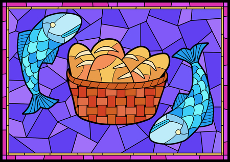 Stained glass in a Catholic Church. Religious meanings and scenes of the Christians traditions vector illustration 015 Stock Photo