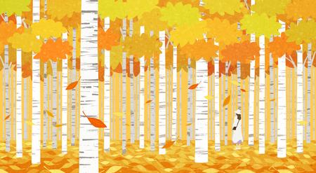 Beautiful autumn landscape colorful nature scenery vector illustration 010 版權商用圖片