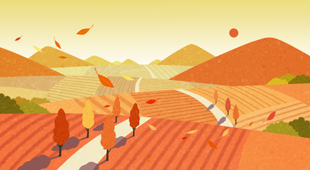 Beautiful autumn landscape colorful nature scenery vector illustration 008