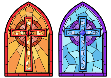 Stained glass in a Catholic Church. Religious meanings and scenes of the Christians traditions vector illustration 012