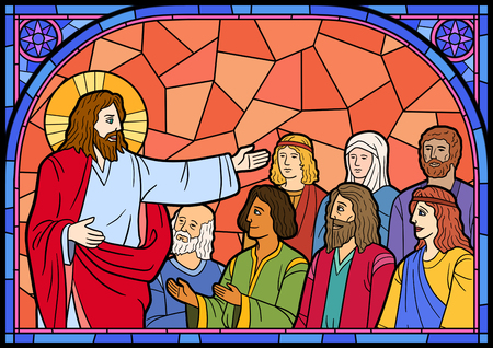 Stained glass in a Catholic Church. Religious meanings and scenes of the Christians traditions vector illustration 005 Stock Photo