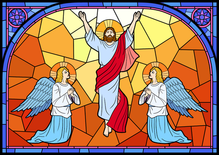 Stained glass in a Catholic Church. Religious meanings and scenes of the Christians traditions vector illustration 009 Stock Photo
