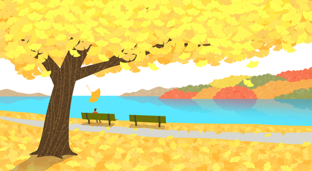 Beautiful autumn landscape colorful nature scenery vector illustration 001