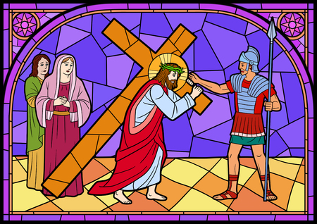 Stained glass in a Catholic Church. Religious meanings and scenes of the Christians traditions vector illustration 006