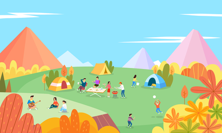 illustration of seasonal activities during summer and autumn time camping
