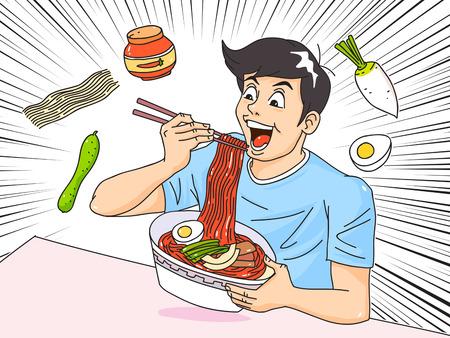 Man and woman eating food and desert at a table cartoon style vector illustration 001 Illusztráció