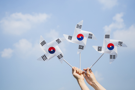 An emblem of Korea and Koreans concept, with national flag 'Taegukgi', national flower 'Rose of Sharon' and so on. 014