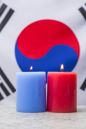 An emblem of Korea and Koreans concept, with national flag 'Taegukgi', national flower 'Rose of Sharon' and so on. 044 Imagens