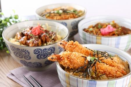 Fried shrimp donburi, japanese rice bowl with fried shrimp Stock Photo