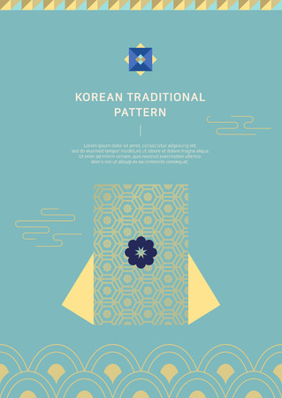 2019 new year poster, banner, and brochure design. Korean traditional background vector illustration. 向量圖像