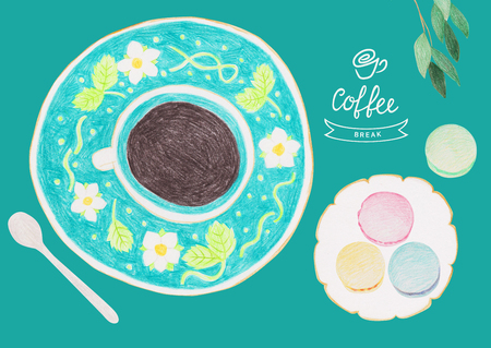 Colored pencil food drawing. Coffee and cookies.