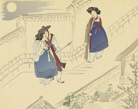 Traditional Korean painting. Life of ordinary people painting of ink artwork with colorful. 版權商用圖片