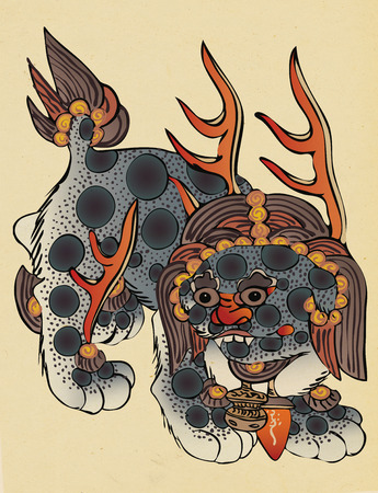 Korean folktales, traditional painting of animals related to Korean traditional myths. 写真素材