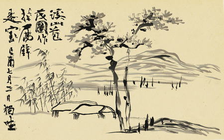 Traditional Korean painting. Life of ordinary people and nature landscape painted by hand with ink. Reklamní fotografie - 116462434