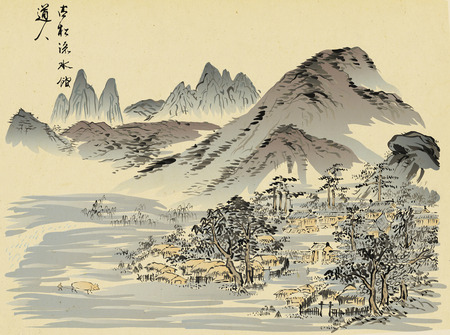 Traditional Korean painting. Life of ordinary people and nature landscape painted by hand with ink. Banque d'images - 116462438