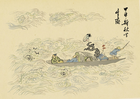 Traditional Korean painting. Life of ordinary people and nature landscape painted by hand with ink.