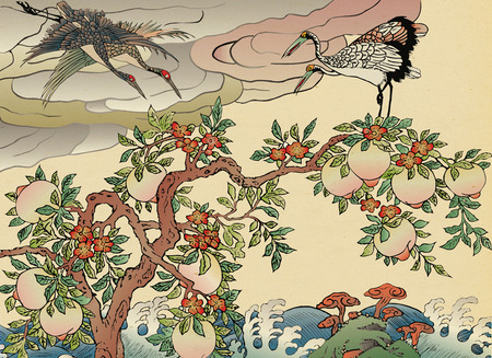 Korean folktales, traditional painting of animals related to Korean traditional myths. Stock Photo