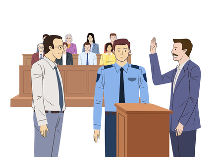 Judges court concept, courtroom scene with judge, lawyers, witness. the judiciary vector illustration.