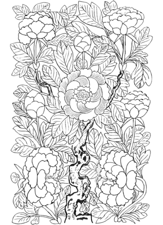 Hand drawn line art Korean traditional painting of animals. Watercolor and ink of painting Stock Photo