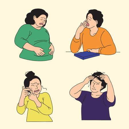 Set of various emotions suffer or stressful isolated vector illustration. Illustration