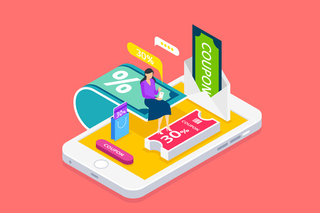 Wireless technology and mobile devices life concept flat 3d isometric infographic vector illustration.