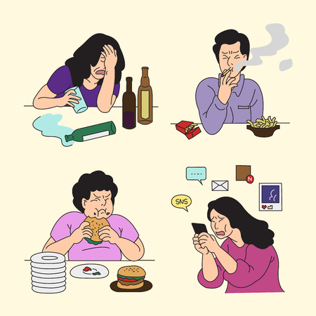 Set of various emotions suffer or stressful isolated vector illustration. Vettoriali