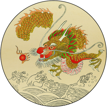 Korean folktales, traditional painting of animals related to Korean traditional myths. Stockfoto