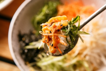 A spoon scooping up a sea squirt bibimbap, from plate Stock Photo