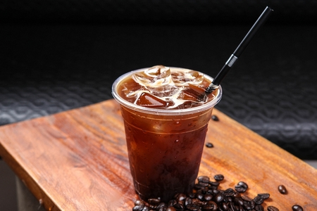Iced americano in glass 写真素材