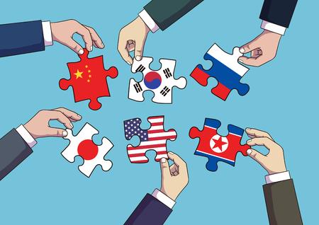 Diplomacia y guerra comercial, ilustración de vector de concepto de comercio internacional