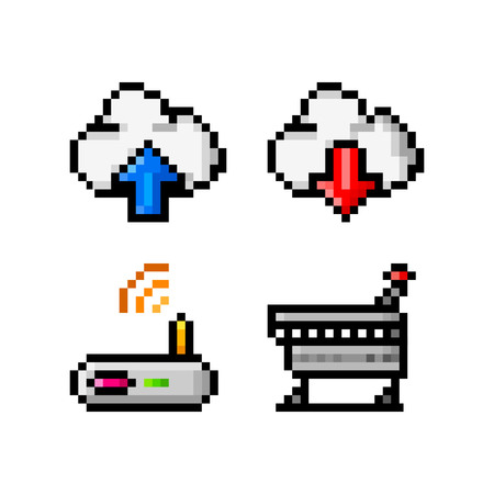 Pixel icons for app, web or video game interface vector illustration. 向量圖像