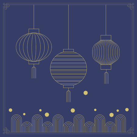 Korean traditional object line vector illustration. lamp and pattern. Ilustracja