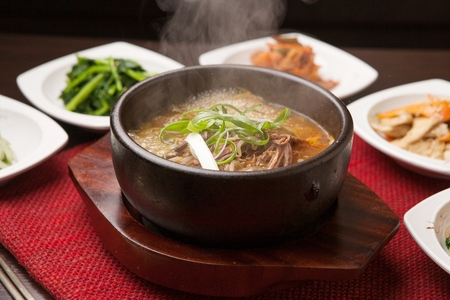 Rice soup with beef, in pot