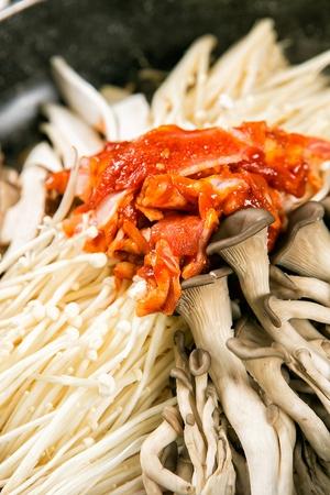 Bulgogi with mushrooms on plate