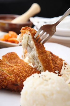 Sliced Cheese Pork Cutlet with rice and salad served on plate and fork Reklamní fotografie