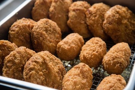 Croquette fried on a fryer Stockfoto