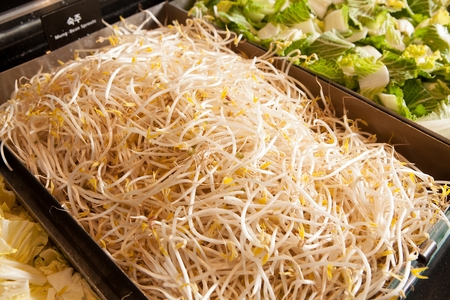 Shabu-shabu ingredient, bean sprouts in rectagular aluminum container