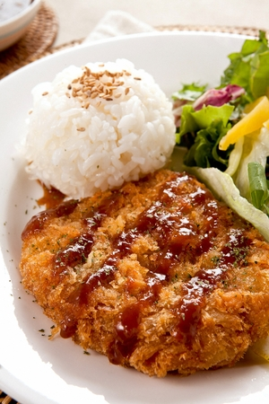 Donkatsu, pork cutlet served with sweet corn salad
