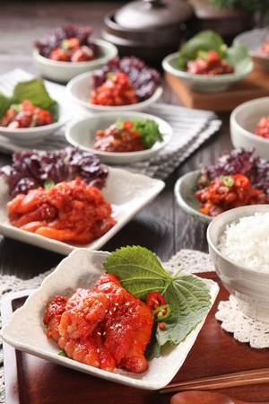 assorted Jeotgal, salted spicy raw sefood on plate with rice bowl Standard-Bild