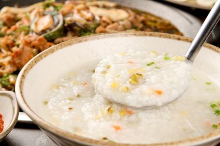 close-up shot of mung bean rice porridge Stock Photo