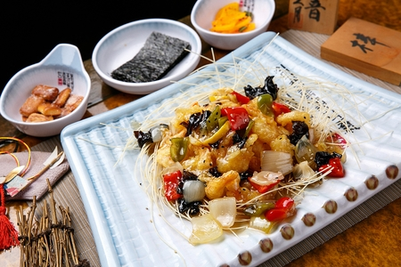Tangsuyuk, Korean style sweet and sour pork with vegetables like paprika and onion