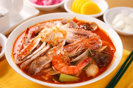 Korean-Chinese cuisine, Jjambbong, spicy seafood noodle soup with octopus, crab and shrimp