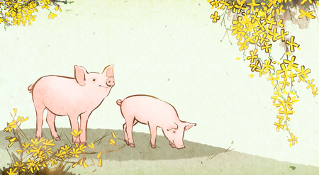 Vector illustration or Watercolor hand drawn illustration of pig in the nature. Stock Photo