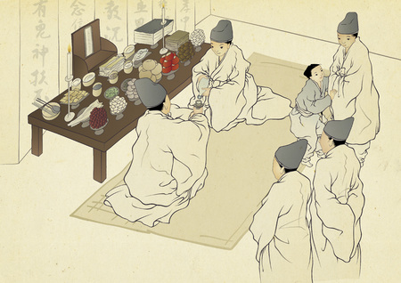 Korean traditional painting collection, genre painting portrays the daily life of Korean people. Archivio Fotografico - 118471451
