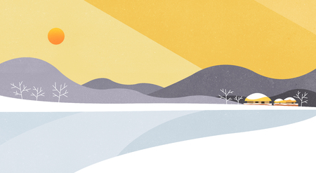 Vector illustration of Natural landscape with Sun rise, beautiful scenery illustration.