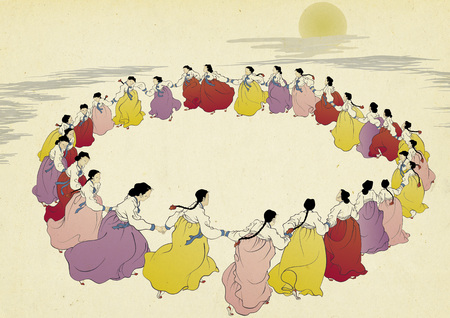Korean traditional painting collection, genre painting portrays the daily life of Korean people. 版權商用圖片 - 118471191