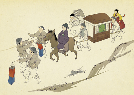 Korean traditional painting collection, genre painting portrays the daily life of Korean people. Foto de archivo